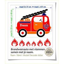 JERMA Brandweerauto met naam.