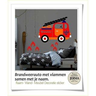 JERMA Brandweerwagen interieurdecoratie raamdecoratie sticker kinderkamer idee.