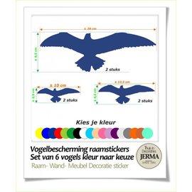 JERMA Vogel raamstickers  6 stuks.