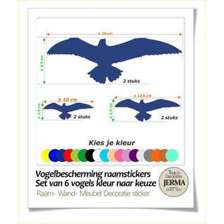 JERMA Raamstickers set van 6 vogels Plak ze op de raam of windscherm