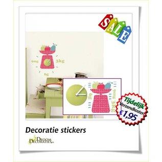 Wandklok met fruit muurdecoratie stickers