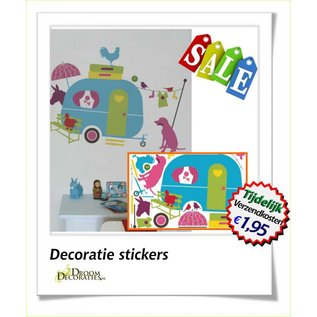 Caravan herbruikbare kinderkamer decoratie stickers