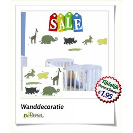 Uitverkoop SALE Happy jungle dieren decoratie set 24 stuks