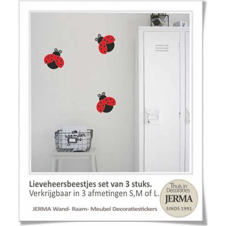 JERMA Lieveheersbeestjes set raamdecoratie stickers muurdecoratie stickers bakfietspimpen