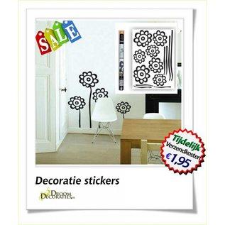 Bloemen muur-, meubel decoratie stikkers model: Zwarte bloem op langesteel