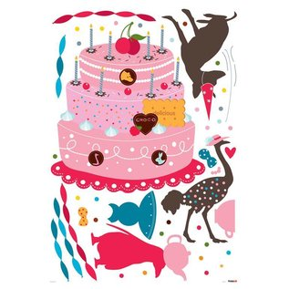 Kidslab muurstikker Party cake met vogeltjes herbruikbare decoratie