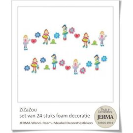 24 foam decoraties met de 3 Hippe dametjes.