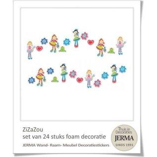 24 decoraties met de 3 Hippe dametjes Zi, Za en Zou