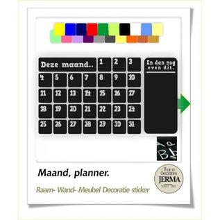 JERMA Maand kalender planner met memobordsticker gedeelte.