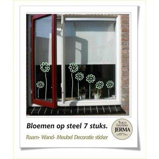 JERMA Bloemen op lange steel muurdecoratie raamdecoratiestickers kinderkamerstickers
