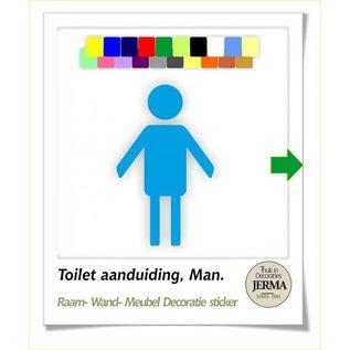 JERMA Toilet sticker pictogram symbool aanduiding. Heren WC plakplaatje heren toilet