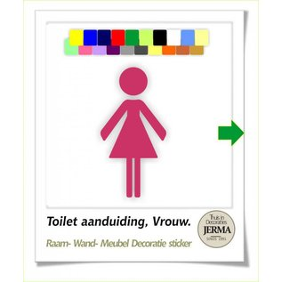 JERMA Toilet symbool pictogram aanduiding Dames wc stickers