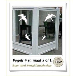 JERMA Zwaluw. vogels stickers set van 4 stuks. Plak ze op de raam of windscherm vogel plakkers