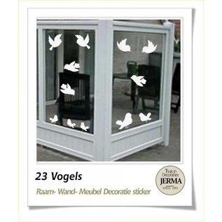 JERMA Twitterende vogeltjes Voorkom dat de vogels tegen je raam of windscherm vliegen Je kunt er voor kiezen dit met de standaard plakvogels te doen maar je kunt er ook voor kiezen hier deze set Twitterende vogeltjes voor te gebruiken.