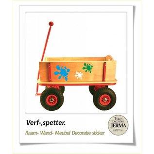 JERMA Verf spetter. decoratie sticker bolderkar sticker bakfiets sticker autostickers.