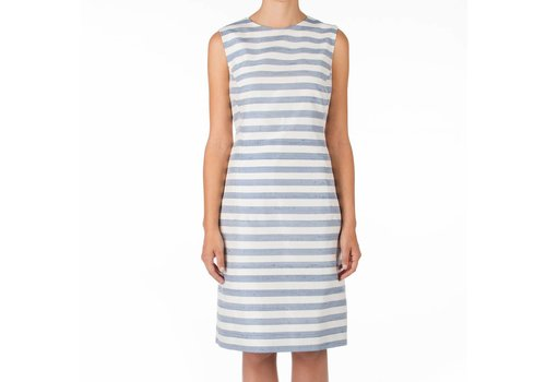 STRAWBERRIES DRESS STRIPEY BLUE