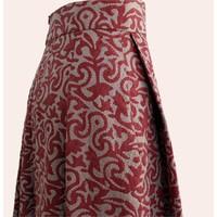 skirt nakshi kantha met rode blockprint