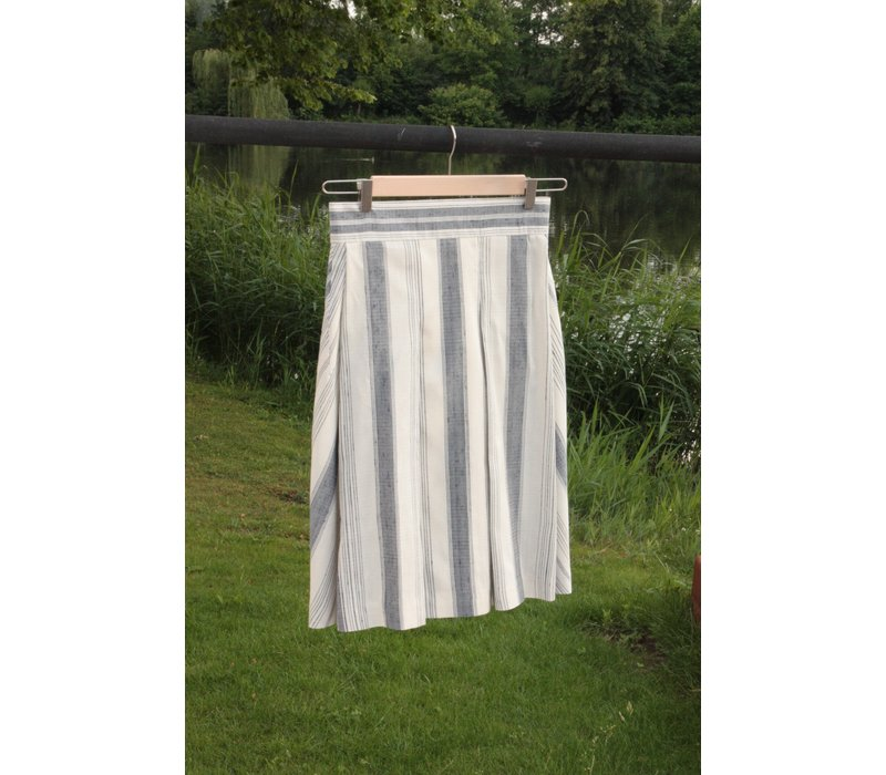 Skirt from thick handwoven silk with blue stipes