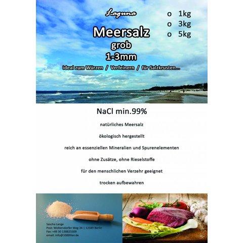 3kg Meersalz grob ohne Zusatzstoffe, ohne Rieselstoffe ökologisch hergestellt