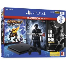 Sony PS4 Console 1TB SLIM + Ratchet + Uncharted 4 + the Last of Us