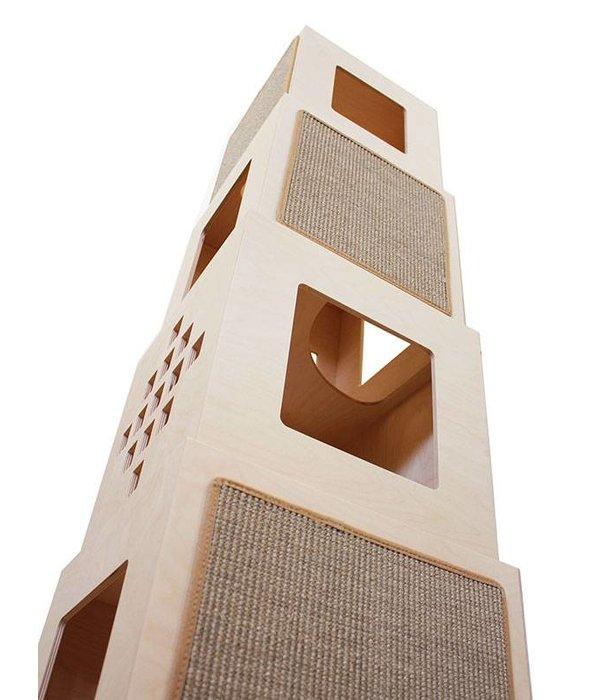 Maya Tower Climbing and Scratching, 4 cubes