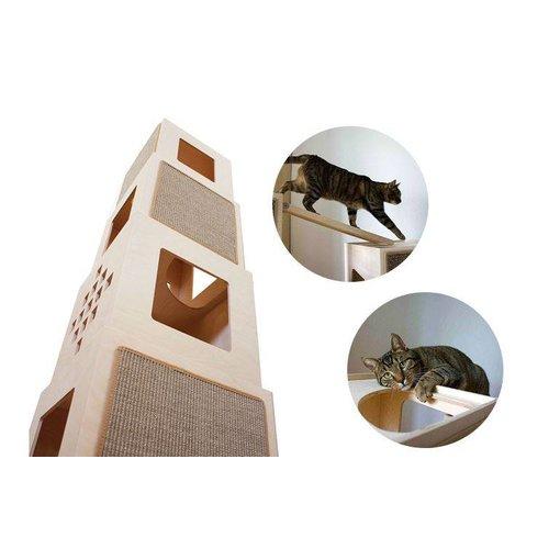 Maya Tower Klim- en Krabpaal, modulair cube systeem