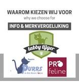 Purrs, Profeline, Da Bird, Tabby Tijger:  wat is het verschil met de fabriekshengels en wat zijn de onderlingen verschillen?
