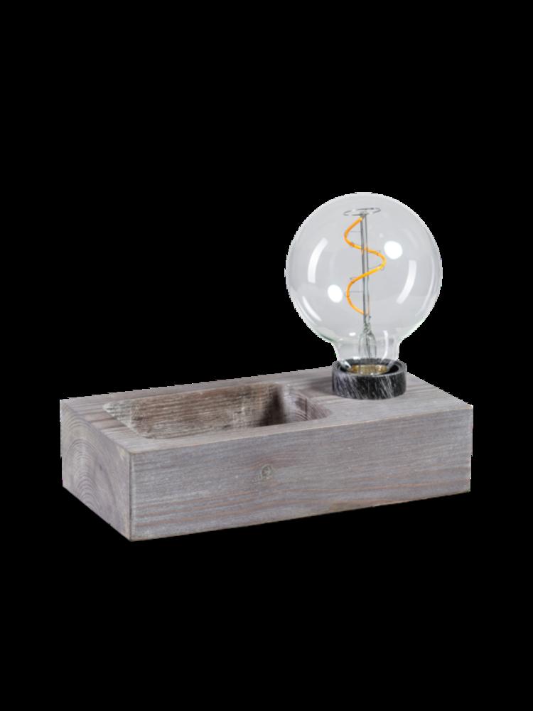 Tafellamp hout met sleutelbakje 1910