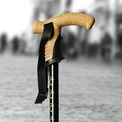 Flexyfoot schokabsorberende wandelstok met kurken handgreep
