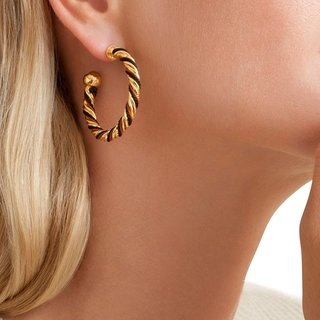 Torride Hoop Earrings Gold Zwart