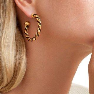 Torride Hoop Ohrringe Gold Zwart