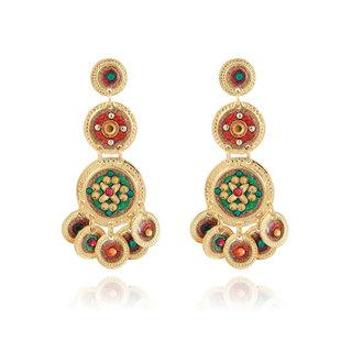 Sequin triple rows earrings gold