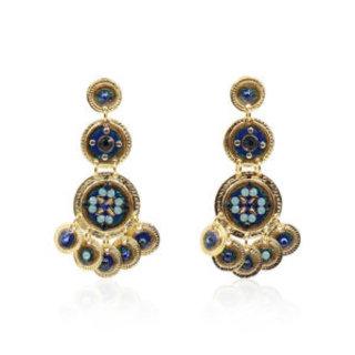 Sequin triple rows earrings gold blue