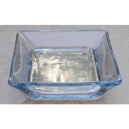 Vierkante schotel van dik glas