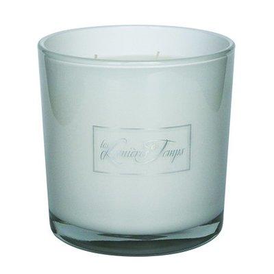 Kaars wit glas L