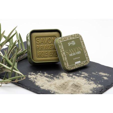 Blikje zeep met groene klei