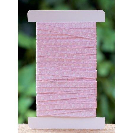 Roze stoffen lint met stippen