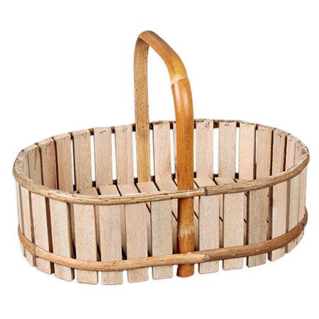 Ovale houten bak  met hengsel