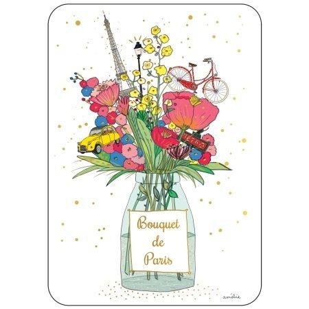Ansichtkaart Boeket bloemen en Parijs