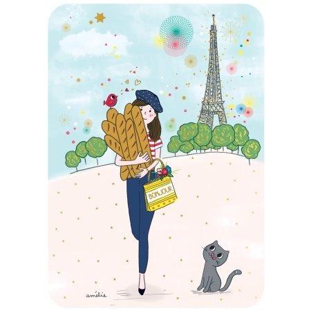 Ansichtkaart Parisienne met stokbrood
