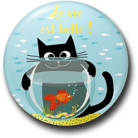 Ansichtkaart poes met goudvis