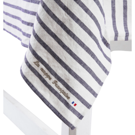 Frans tafelkleed met blauwe strepen