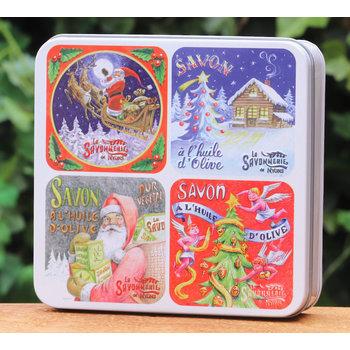 Savonnerie de Nyons Blik 4 zepen kerstsfeer
