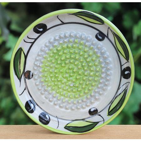 Knoflookrasp groen/grijs met olijven