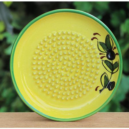 Knoflookrasp geel/groen  met olijven