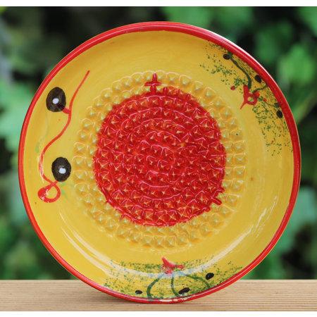 Knoflookrasp geel/rood met olijven
