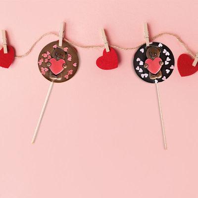 Chocoladelollie hartjes
