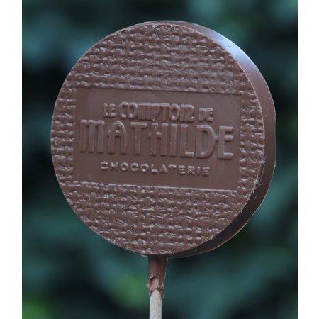 Chocoladelollie met hartjes pure chocolade