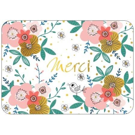 Franse wenskaart merci met bloemen