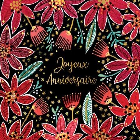Verjaardagskaart met rode bloemen